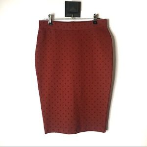 Attitude Dotted Stretchy Pencil Skirt